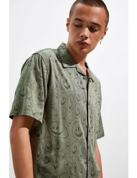 Lazy Oaf Squish Face Bowling Short Sleeve Button Down Shirt by Lazy Oaf