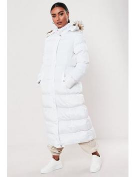 White Faux Far Hooded Puffer Coat by Missguided