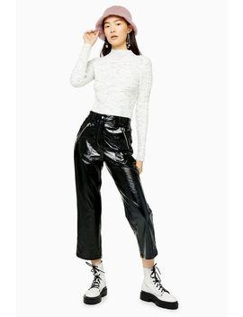Black Faux Leather Vinyl Straight Leg Pants by Topshop