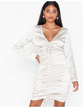 Satin Ruching Midi Dress by Missguided