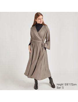 Women Wrap 3/4 Sleeved Maxi Dress (1) by Uniqlo