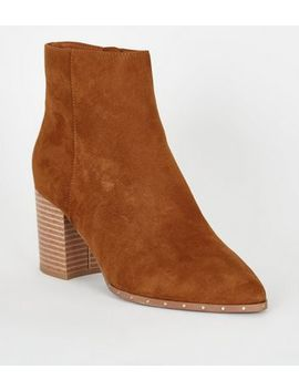 Tan Suedette Stud Heeled Ankle Boots by New Look