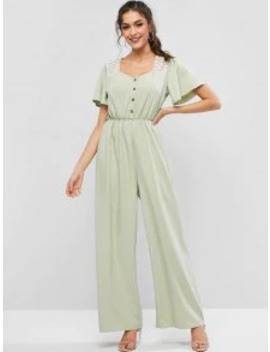 Sale Lace Panel See Thru Wide Leg Sweetheart Neck Jumpsuit   Pale Blue Lily S by Zaful