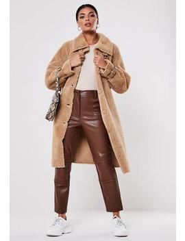 Tan Buckle Detail Borg Teddy Coat by Missguided