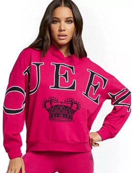 """Queen"" Hooded Sweatshirt   Soho Street by New York & Company"
