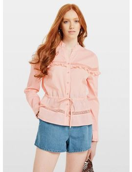 Pink Lace Insert Frill Shirt by Miss Selfridge