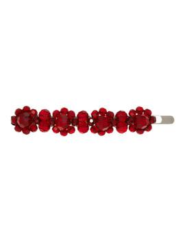 Red Crystal Flower Hair Clip by Simone Rocha
