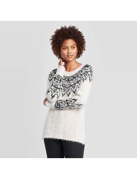 Women's Fairisle Printed Long Sleeve Crewneck Pullover Sweater   Knox Rose™ by Knox Rose