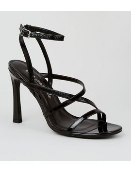 Black Patent Strappy Slim Flared Stiletto Heels by New Look