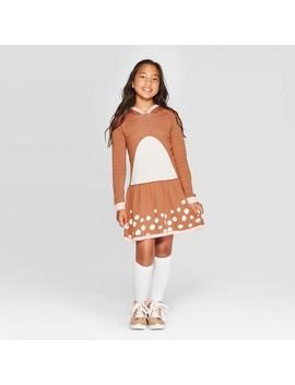 Well Worn Girls' Christmas Reindeer Dress   Brown by Well Worn