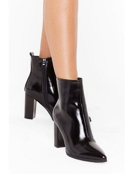 Patent For You Heeled Ankle Boots by Nasty Gal