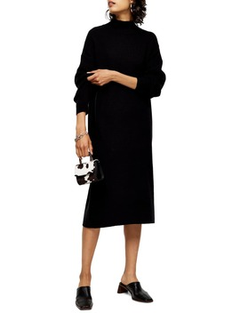Ribbed Long Sleeve Funnel Neck Midi Sweater Dress by Topshop