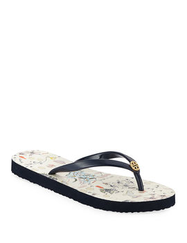 Striped Flat Thong Sandals by Tory Burch