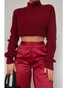 Fashion Influx Wine Satin Wide Leg Trousers by In The Style