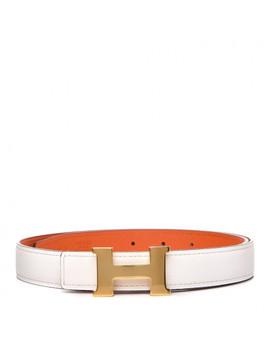 Hermes Swift Epsom 32mm H Belt 75 Craie Orange by Hermes