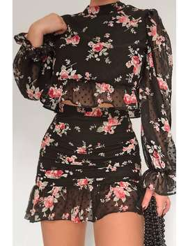 Fashion Influx Black Floral Print Dobby Mesh Frill Detail Top With Multi Tie Back by In The Style