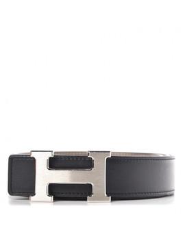 Hermes Box Epsom 32mm H Belt 90 Black Etoupe by Hermes