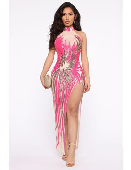 Rare Find Sequin Maxi Dress   Neon Pink by Fashion Nova