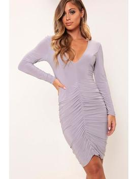 Grey V Neck Plunge Ruched Mini Dress by I Saw It First