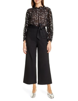 Nuage Metallic Dot Mix Media Silk & Wool Blend Jumpsuit by Rebecca Taylor