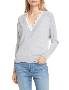 Lace Detail V Neck Merino Wool Sweater by Rebecca Taylor