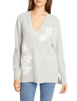Appliqué V Neck Pullover Sweater by Rebecca Taylor