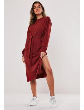 Burgundy Tie Waist Midi Sweater Dress by Missguided