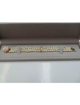 Vtg 14 K Y. Gold Clasp Natural Angel Skin Coral Beaded Bracelet /Triple Strand by Unbranded