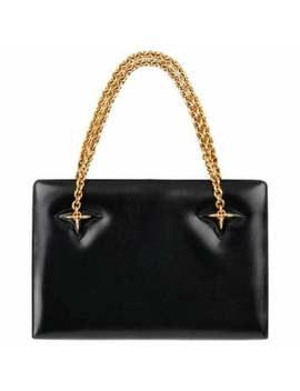 Gucci C.1960's Black Leather Gold Chain Link Push Lock Structured Handbag Rare by Gucci