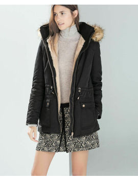 Zara* Lovely Ladies Black Parka*With Faux Fur   Detachable Hood* Uk L 10 12*New by Zara