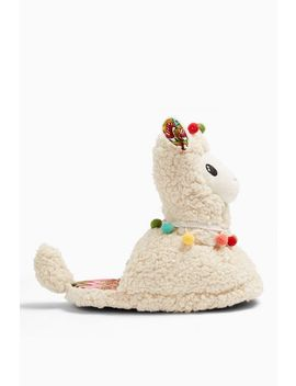 Cream Llama Slippers by Topshop
