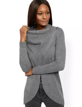 Cowlneck Zip Front Cardigan by New York & Company