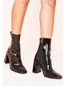 Elisa Black Patent Chunky Boots by Missy Empire