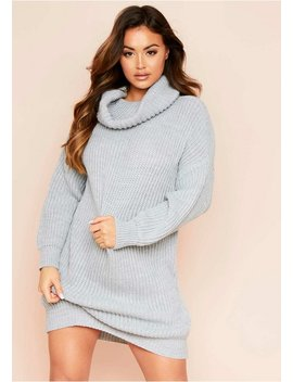 Soren Grey Roll Neck Knit Jumper Dress by Missy Empire