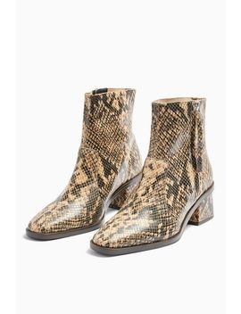 Margot Leather Snake Mid Boots by Topshop