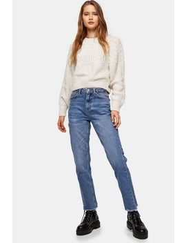 Mid Blue Rip Hem Straight Jeans by Topshop