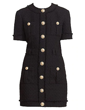 Buttoned Tweed Mini Dress by Balmain