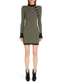 Long Sleeve Tweed Sweater Dress by Balmain