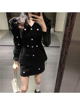 Newkoou   Puff Sleeve Corduroy Jacket / High Waist Skirt by Newkoou
