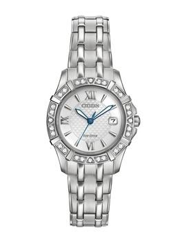 Women's Eco Drive Diamond Quartz Stainless Bracelet Watch, 26mm   0.0053 Ctw by Citizen