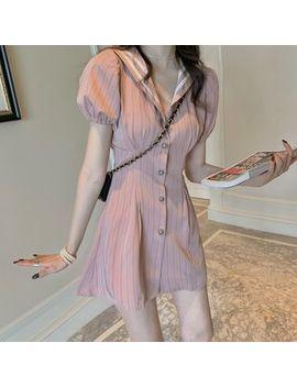 Newkoou   Puff Sleeve Sailor Collar Plain Dress by Newkoou
