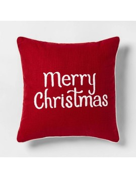 Embroidered 'merry Christmas' Square Throw Pillow Red/White   Threshold™ by Threshold