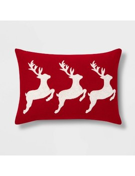 Embroidered Reindeer Throw Pillow Red/White   Threshold™ by Threshold