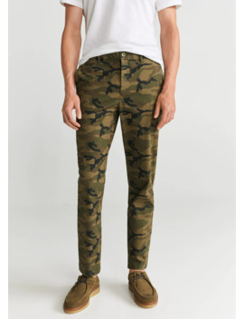 Regular Fit Camo Print Trousers by Mango