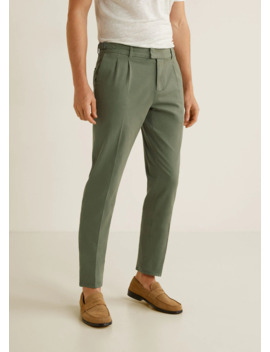 Regular Fit Pleated Cotton Pants by Mango