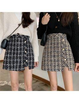 Newkoou   Asymmetric Plaid Tweed A Line Skirt by Newkoou