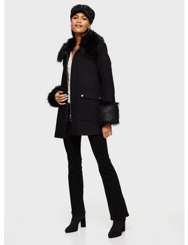 Black Swing Duffle Coat by Miss Selfridge