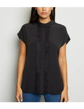 Black Lace Panel Roll Neck Top by New Look
