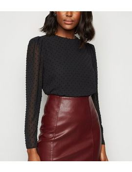 Black Spot Puff Sleeve Blouse by New Look