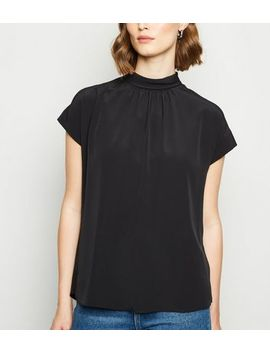 Black High Neck Tie Back Top by New Look